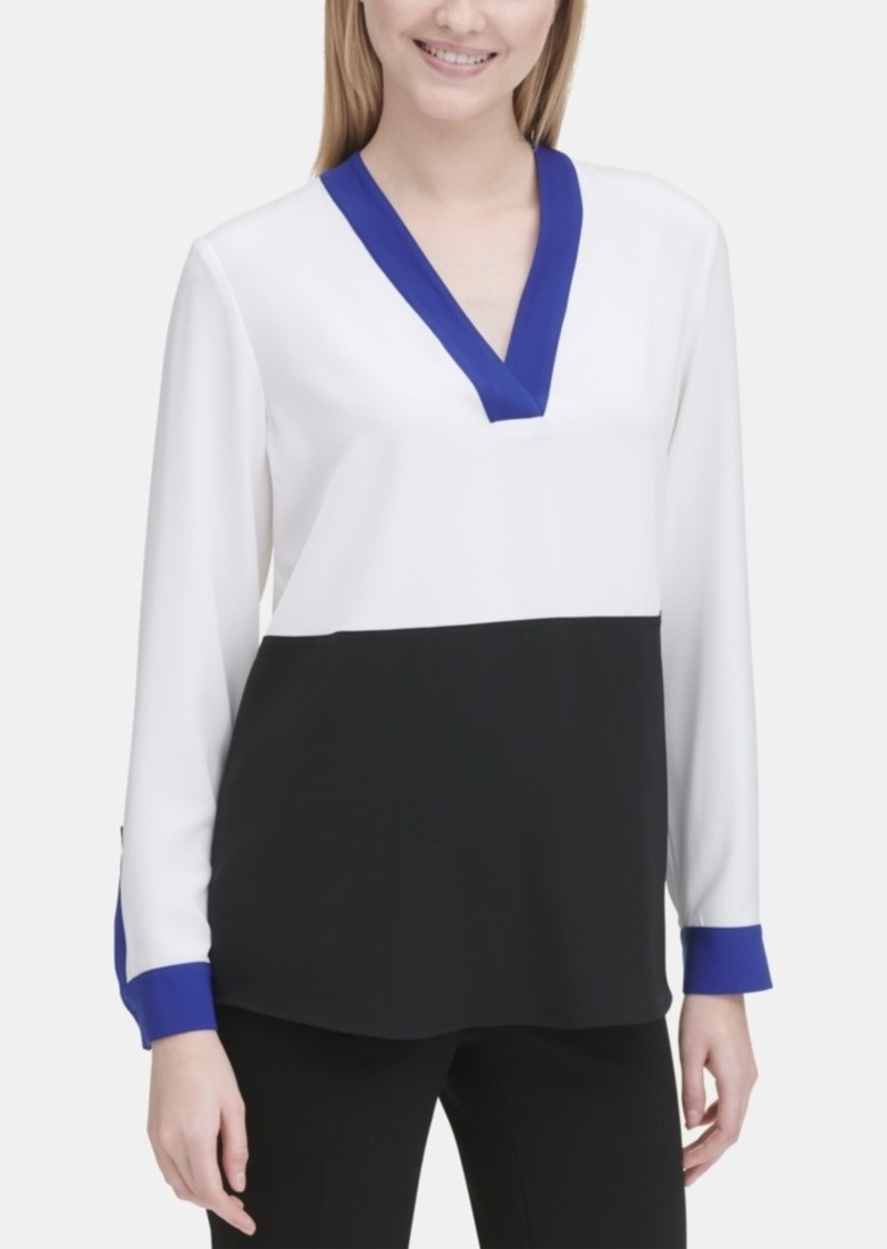 Calvin Klein V-Neck Colorblocked Blouse