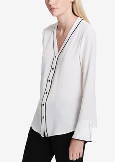Calvin Klein V-Neck Contrast-Trim Blouse