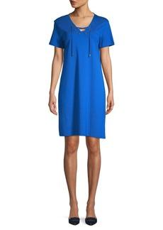 Calvin Klein V-Neck Cotton Shirtdress