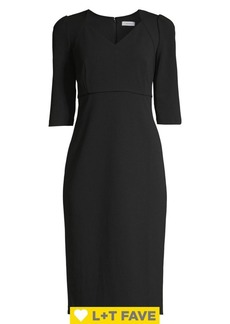 Calvin Klein V-Neck Elbow-Sleeve Sheath Dress