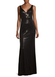 Calvin Klein V-Neck Floor-Length Dress