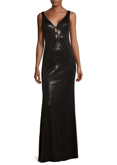 V-Neck Floor-Length Dress