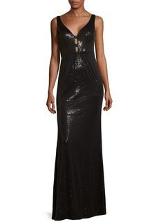 Calvin Klein V-Neck Floor-Length Dress