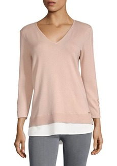 V-Neck Grommet Top