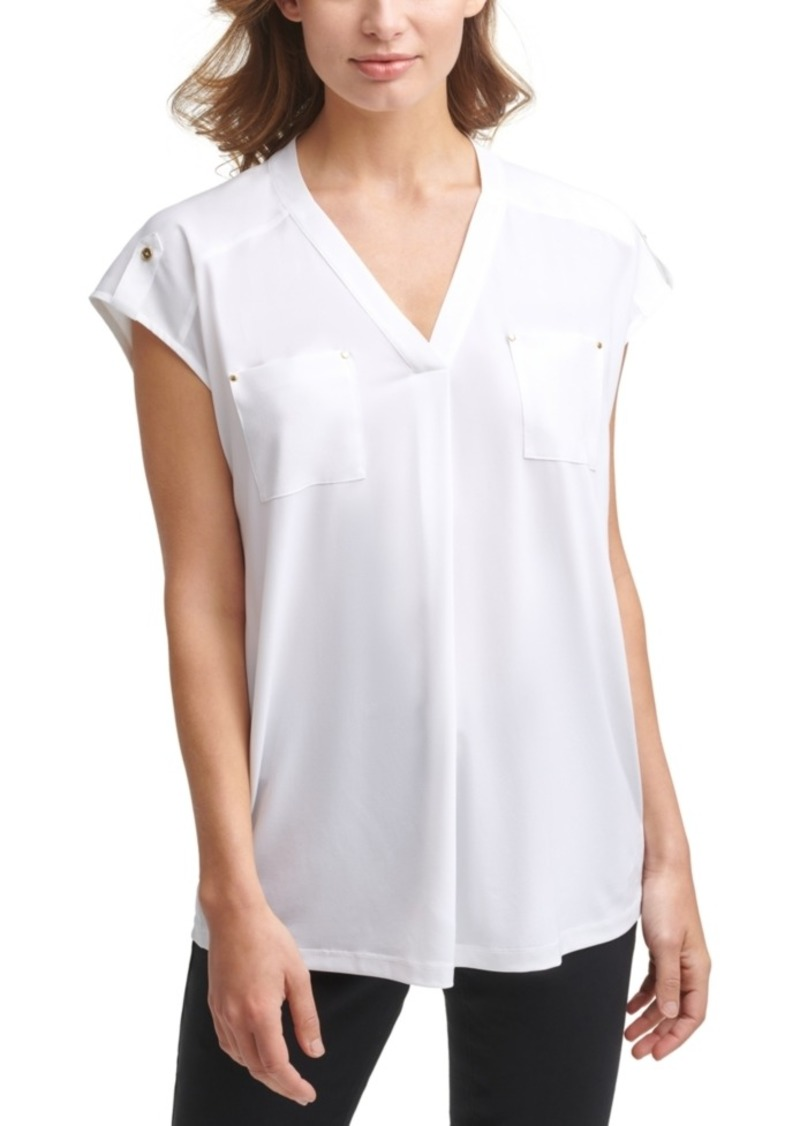 Calvin Klein V-Neck Pocketed Top