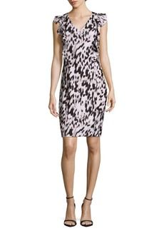 Calvin Klein V-Neck Printed Ruffled Dress
