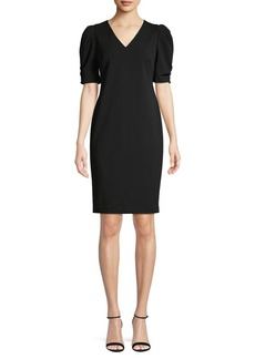 Calvin Klein V-Neck Puff-Sleeve Sheath Dress