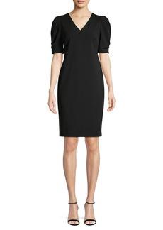Calvin Klein V-Neck Puff-Sleeve Sheath Dress