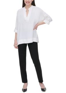 Calvin Klein V-Neck Roll-Sleeve Blouse