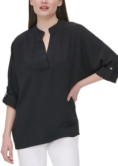 Calvin Klein V-Neck Roll-Sleeve Blouse