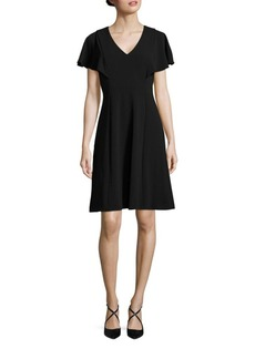 Calvin Klein V-Neck Ruffle Flare Dress