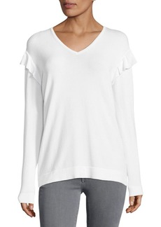 Calvin Klein V-neck Ruffle Sweater