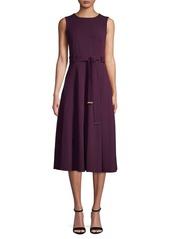 Calvin Klein V-Neck Waist Tie Midi Dress