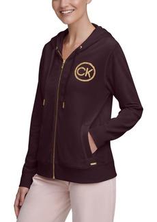 Calvin Klein Velour Logo Zip Hoodie