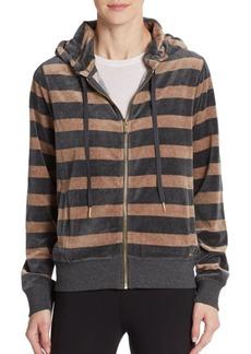 Calvin Klein Velour Striped Drawstring Hoodie