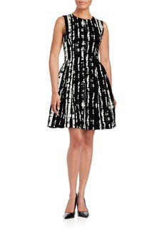 CALVIN KLEIN Velvet-Accented Fit-and-Flare Dress