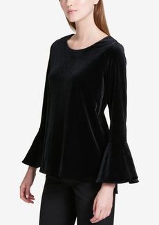 Calvin Klein Velvet Bell-Sleeve Top