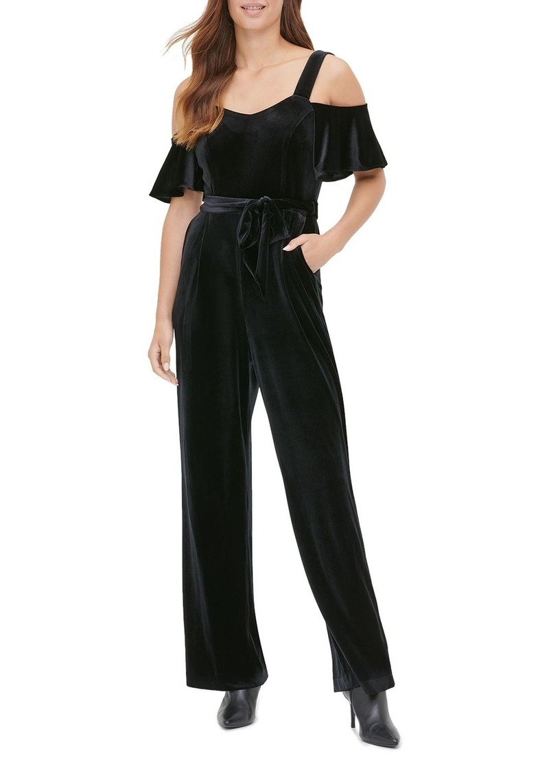Calvin Klein Velvet Cold-Shoulder Jumpsuit