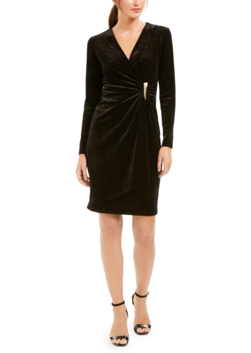 Calvin Klein Velvet Draped Wrap Dress