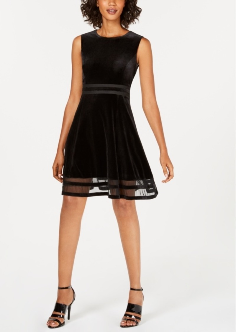 Calvin Klein Velvet Illusion A-Line Dress