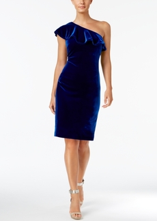 Calvin Klein Velvet One-Shoulder Ruffle Dress