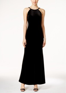 Calvin Klein Velvet Open-Back Halter Gown