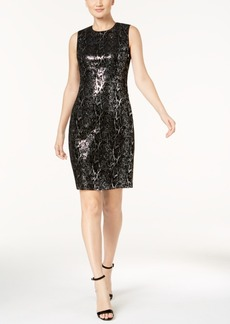 Calvin Klein Velvet Sequined Animal-Print Dress, Regular & Petite Sizes