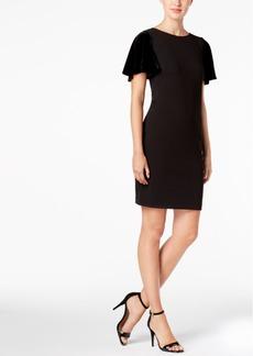 Calvin Klein Velvet-Sleeve Sheath Dress