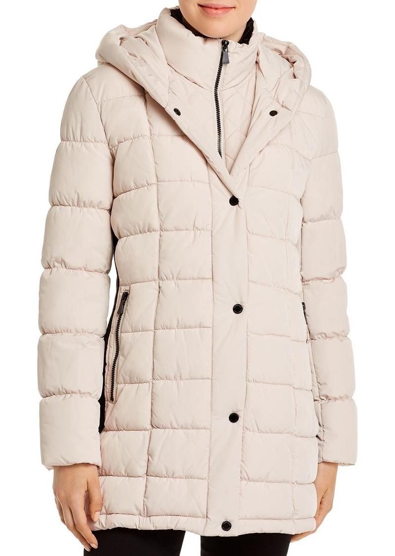 Calvin Klein Velvet-Trim Puffer Coat
