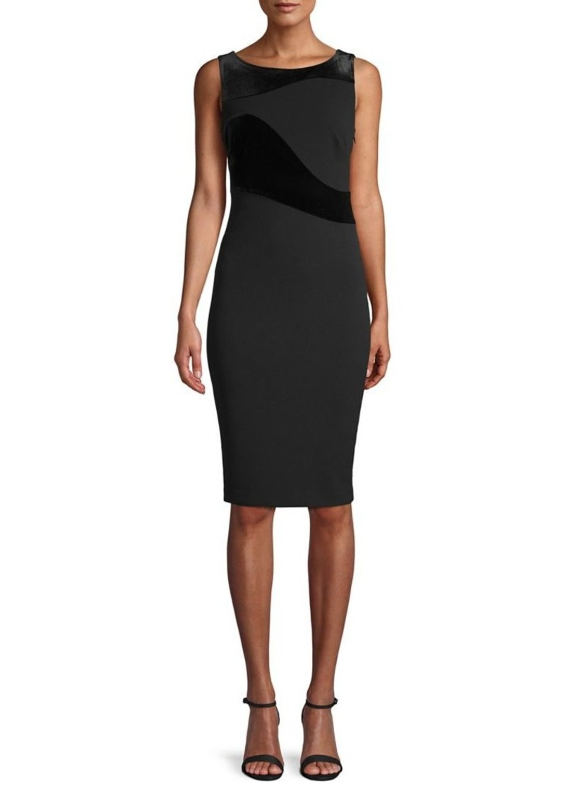 Calvin Klein Velvet-Trimmed Sheath Dress