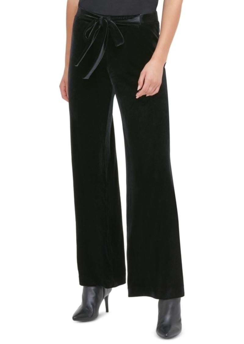 Calvin Klein Velvet Wide-Leg Pull-On Pants