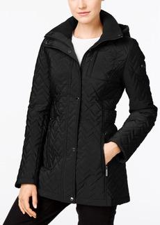 Calvin Klein Water Resistant Hooded Chevron Quilted Coat
