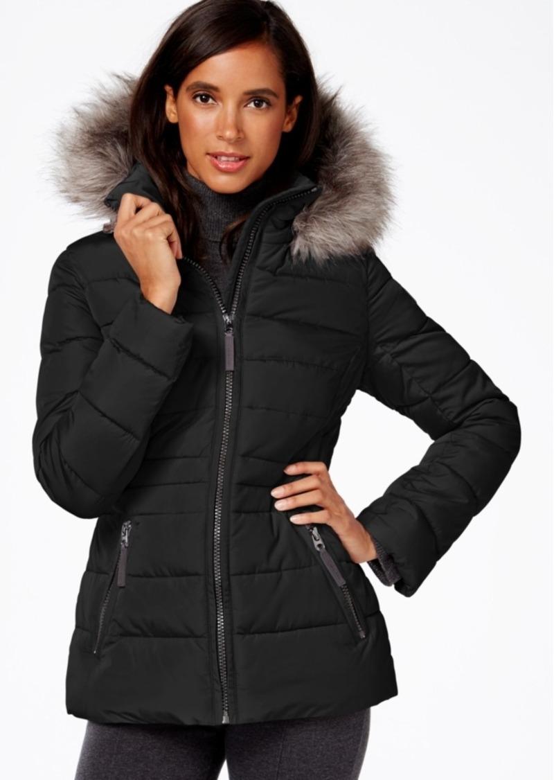 Calvin Klein Water-Resistant Hooded Faux-Fur-Trim Puffer Coat