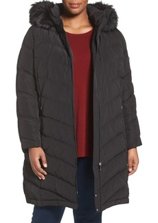 Calvin Klein Water Resistant Puffer Coat with Faux Fur Trim (Plus Size)