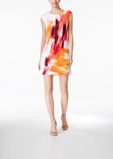 Calvin Klein Watercolor Cap-Sleeve Sheath Dress
