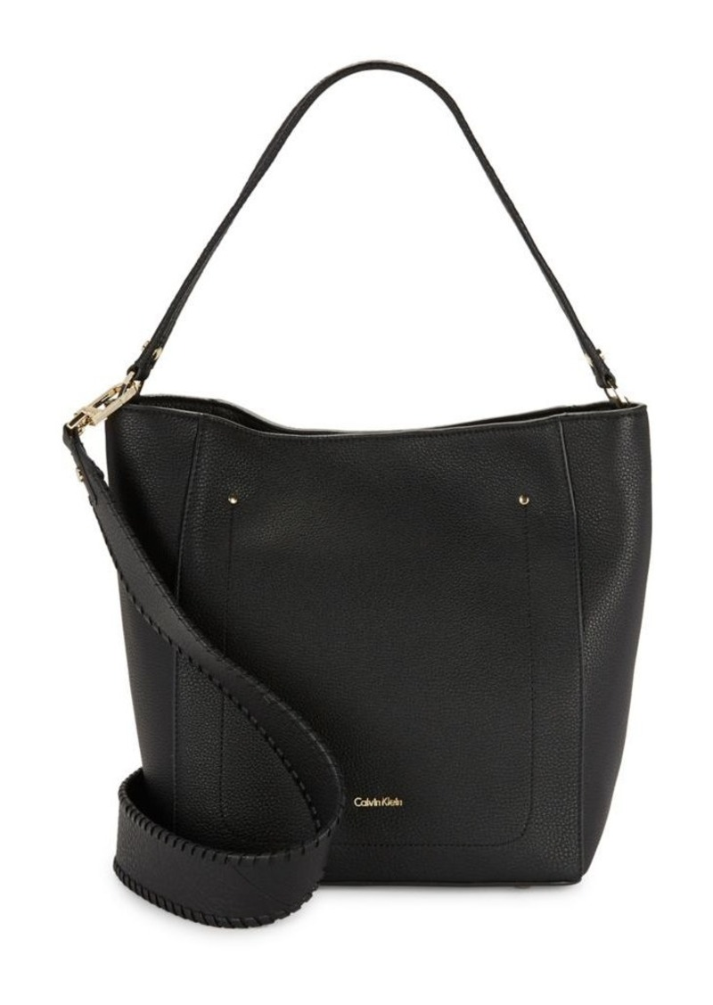 Calvin Klein Whip Sch Leather Hobo Bag