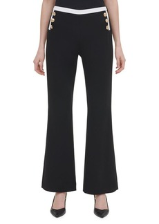 Calvin Klein Flared Leg Button-Side Pants