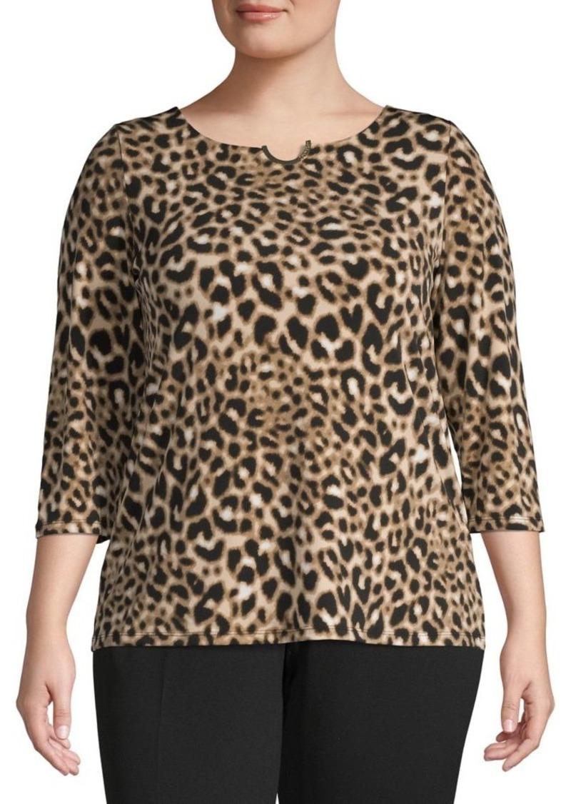 Calvin Klein Plus Wild-Print Long-Sleeve Top