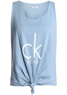Calvin Klein Woman Knotted Printed Cotton-blend Jersey Tank Light Blue