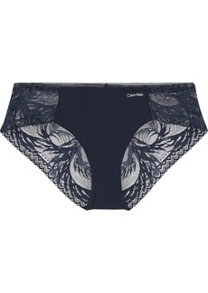 Calvin Klein Underwear Woman Mesh And Stretch-jersey Low-rise Thong Navy