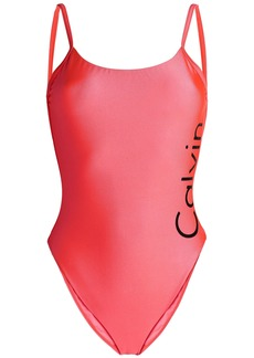 Calvin Klein Woman Open-back Printed Swimsuit Bright Pink