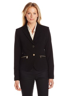 Calvin Klein Women's 2 Button Jacket with Pocket Zips