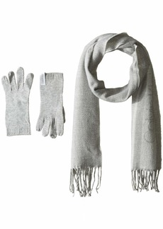 Calvin Klein Women's 2 PC Varsity CK Scarf Knit Touch Glove heather mid grey