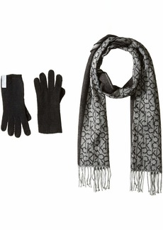 Calvin Klein Women's 2 PC Woven Border Scarf Knit Touch Glove black O/S