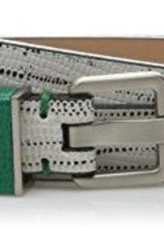 Calvin Klein Women's 20mm Flat Strap Black and White Print Caviar Grain Belt
