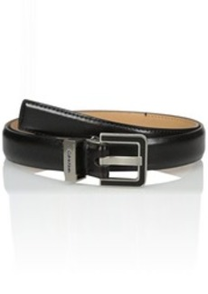 Calvin Klein Women's 25mm Feather Edge Belt with Enamel Filled Harness Buckle and Engraved Logo On Metal Loop