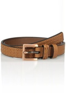 Calvin Klein Women's 25mm Flat Strap Belt with Self Woven Strips and Two Loops