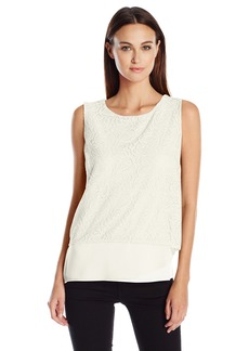 Calvin Klein Women's 3 Layer Top with Lace oft White mall