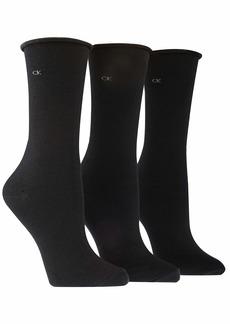 Calvin Klein Women's 3 Pack Cotton Roll Top Crew Socks black 6-9.5