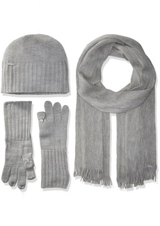 Calvin Klein Women's 3 Piece Belly Band Set-hat Scarf Flip Tip Glove
